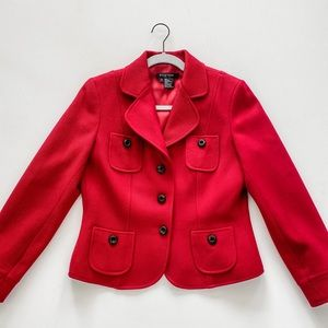 Etcetera red wool military blazer size 6 EUC